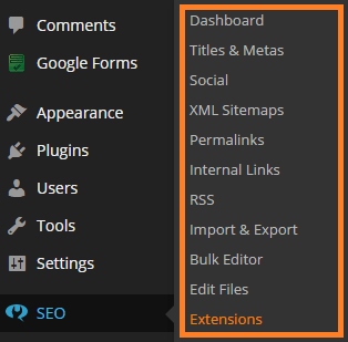 Example of a WordPress options page