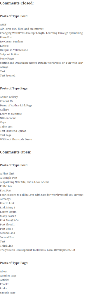 Posts sorted by comments and post type