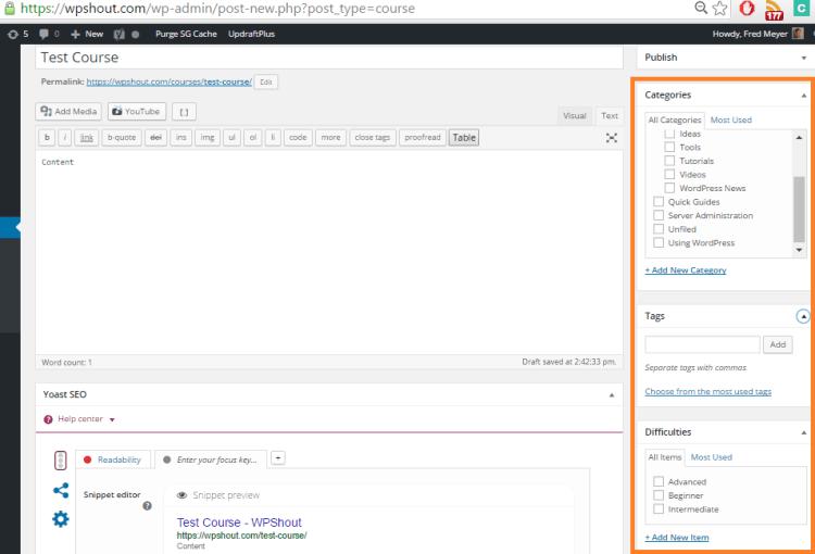 wordpress taxonomies on custom post type