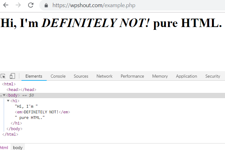 PHP output HTML example