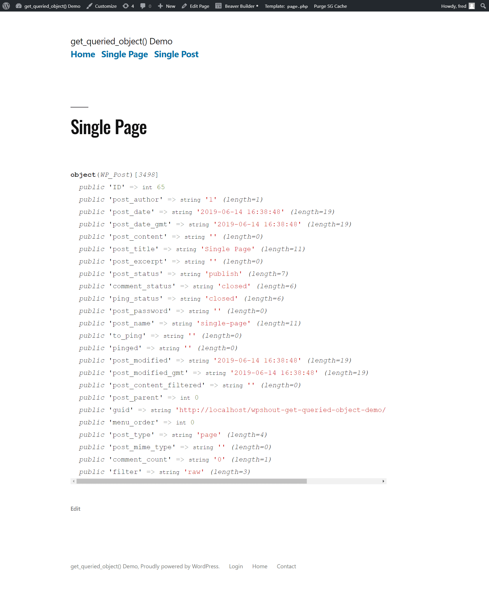 get_queried_object() example single page