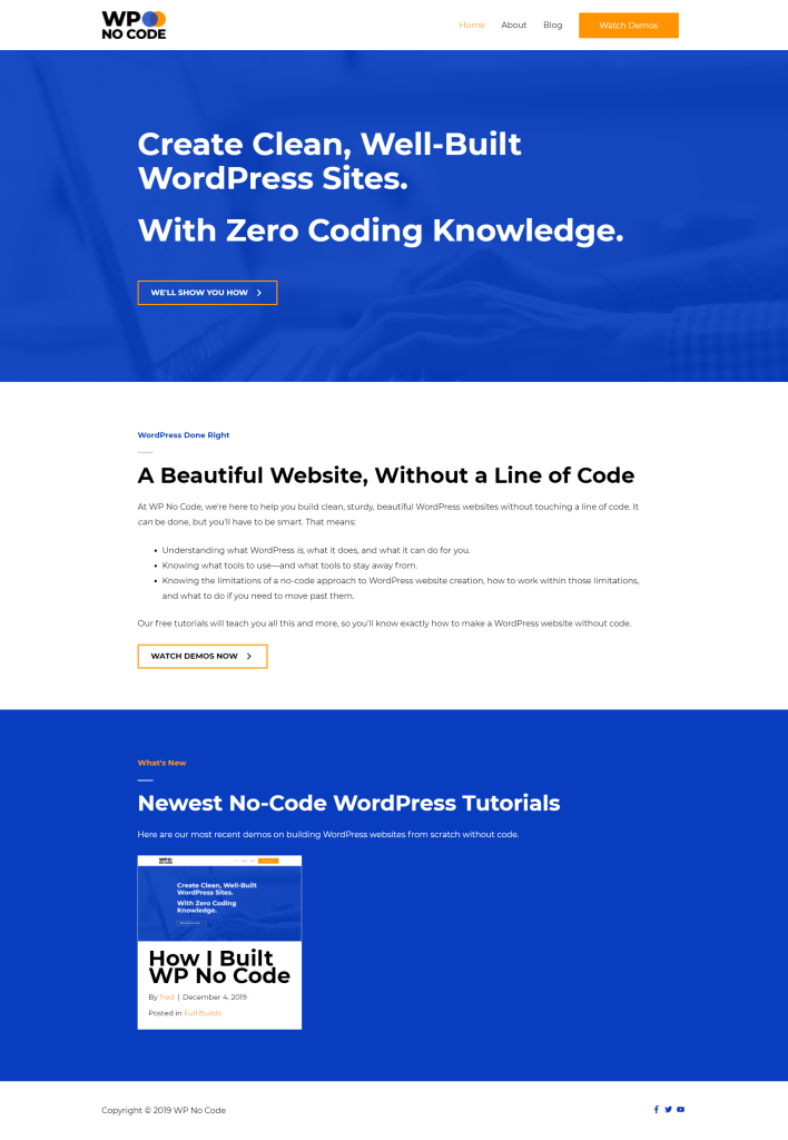 wp no code homepage