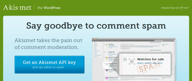 Akismet anti-spam plugin for WordPress