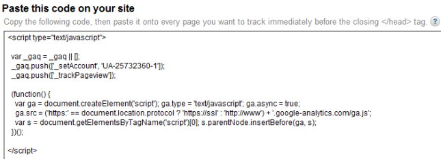 Paste Google Analytics Tracking Code On Your Site
