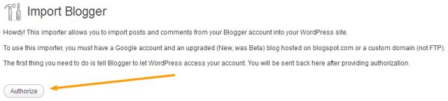 Authorize WordPress Access to Blogger