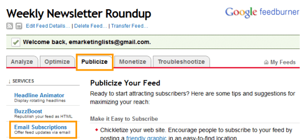 Publicize Your E-Mail Feed