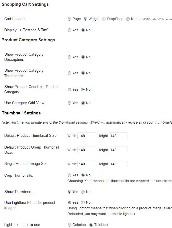 Shopping Cart, Product Category & Thumbnail Settings