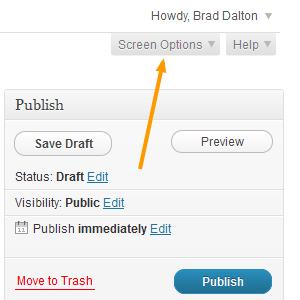 WordPress - Screen Options