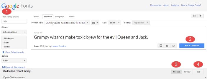 Choose Google Fonts