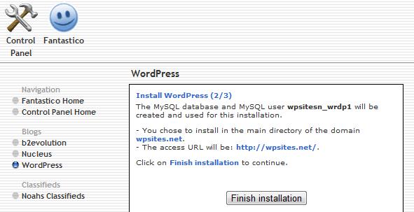 Finish Installation - Install WordPress