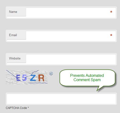 Comment Form Anti Spam Captcha