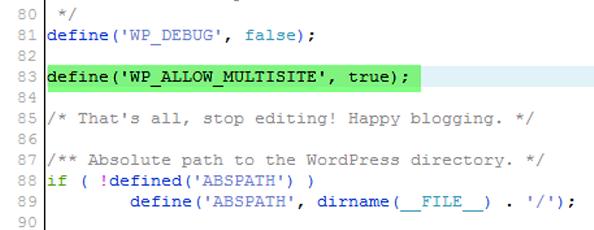 Enable WordPress Multisite