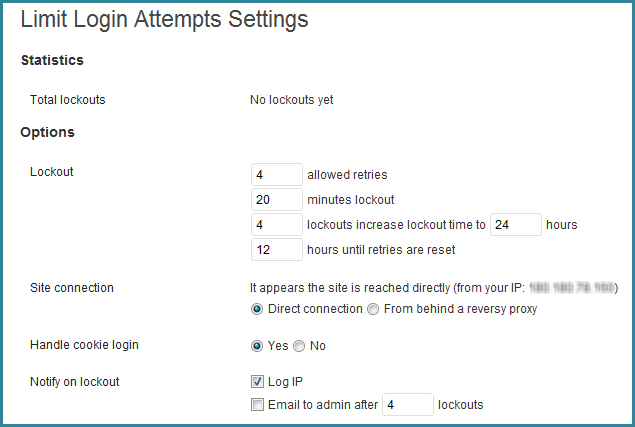 Limit Login Attempts Settings