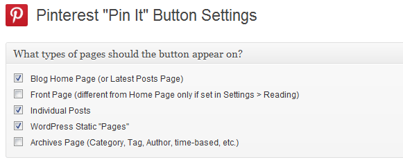 Pin It Button Page Settings