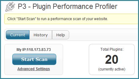P3 Plugin Profiler - Start Scan