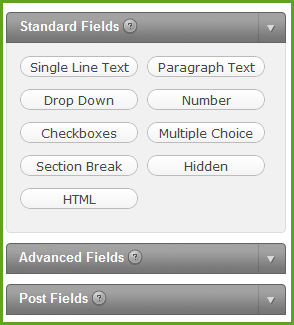 Standard Fields for Gravity Forms