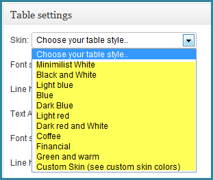 Choose a table style from the drop down menu