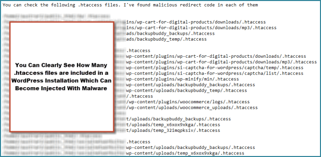 .htaccess files infected
