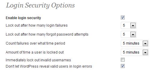 Login Security Options