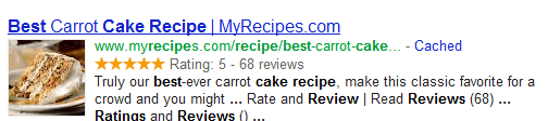 Rich Snippet Displaying Product Image, Reviews and Rating in Search Results
