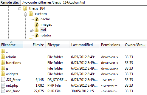 FTP md folder contents