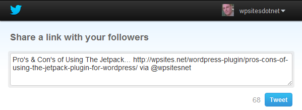 Example of Jetpack Sharing Shortlink Title Cutoff