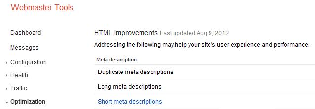 Webmaster Tools HTML Improvements