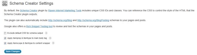 Schema Creator Plugin Settings