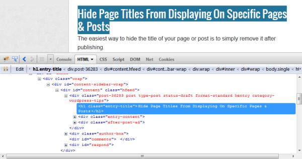 Firebug displaying page I.D and Class