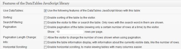 Tables Data Javascript