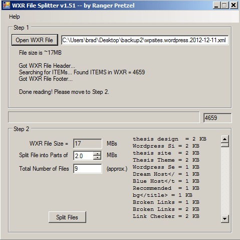 WXR File Splitter