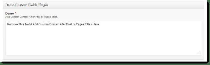 Sample custom meta box On edit post screen