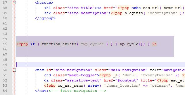 header template file