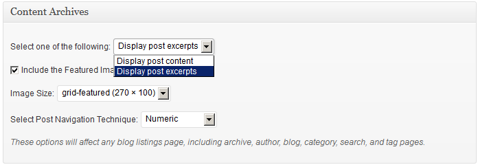 content archives - display post excerpts