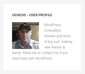 default user profile widget