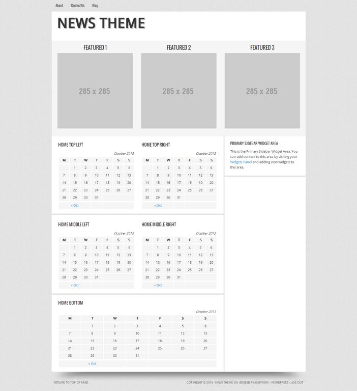 add custom widgets to the News Theme