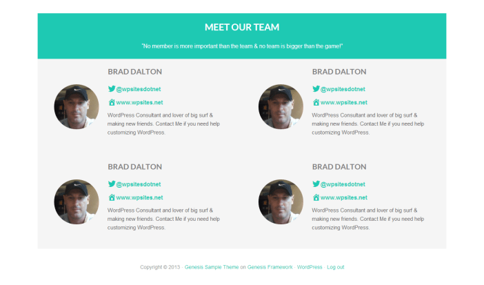 Team Template for staff