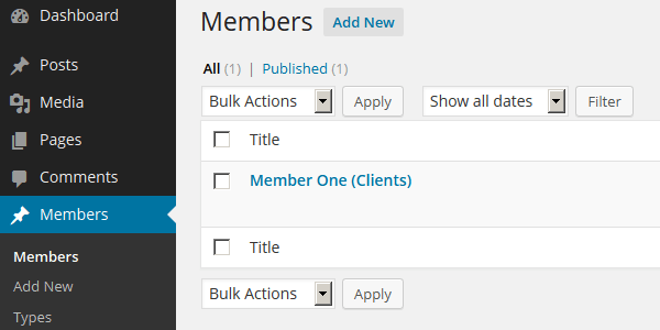 members custom post type
