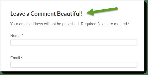 Custom Comment Header Title