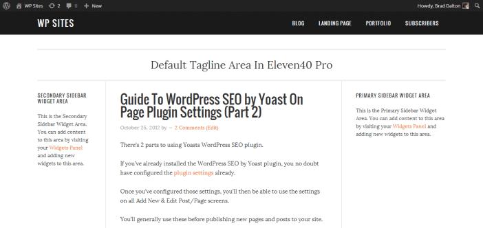 Default Tagline Area In Eleven40 Pro