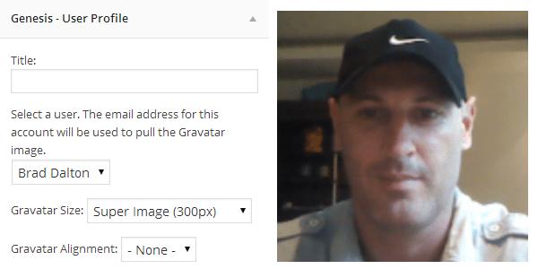 genesis profile widget gravatar image