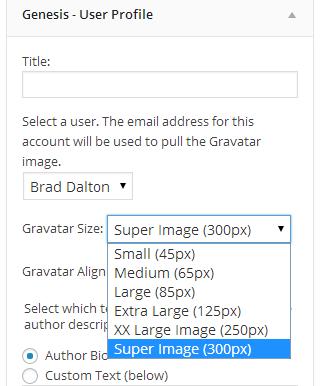 genesis user profile widget
