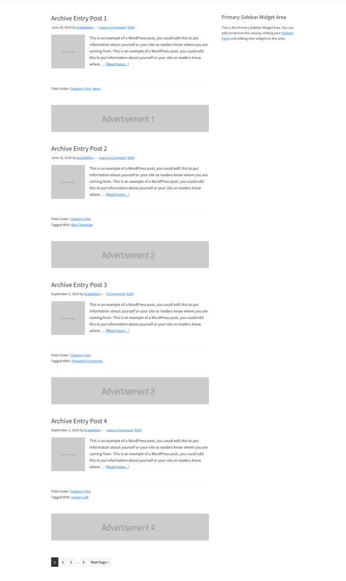 Genesis Archive Page Template