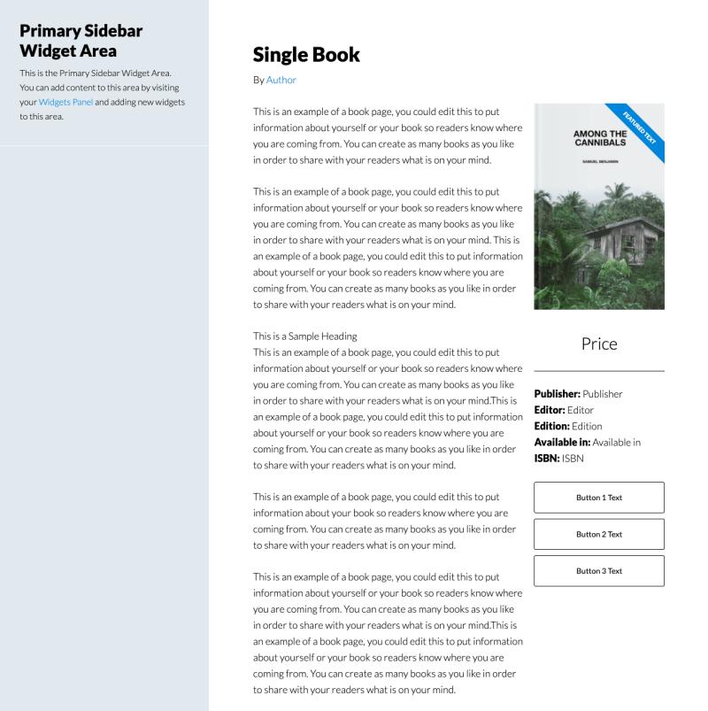 Sidebar Content Layout - Single Books