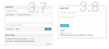 WordPress Dashboard (3.8) - Drafts/QuickPress