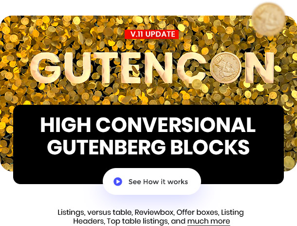 Gutenberg blocks for affiliate and reviews