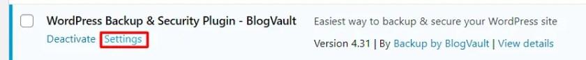 Configure BlogVault