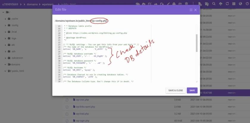 wp-config DB Details