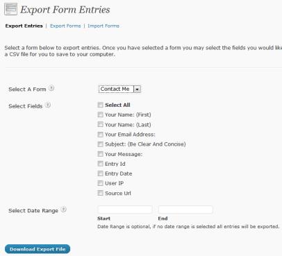 GravityForms Import Export