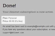 Akismet Personal Plan